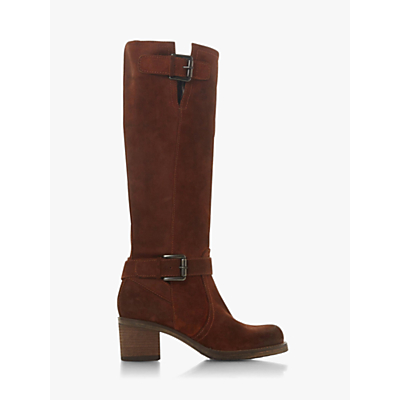Dune Tansey Knee High Boots, Chestnut Suede