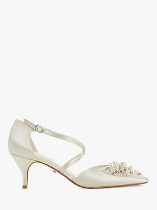 Dune Champagne Embellished Two Part Kitten Heel Court Shoes, Ivory Satin