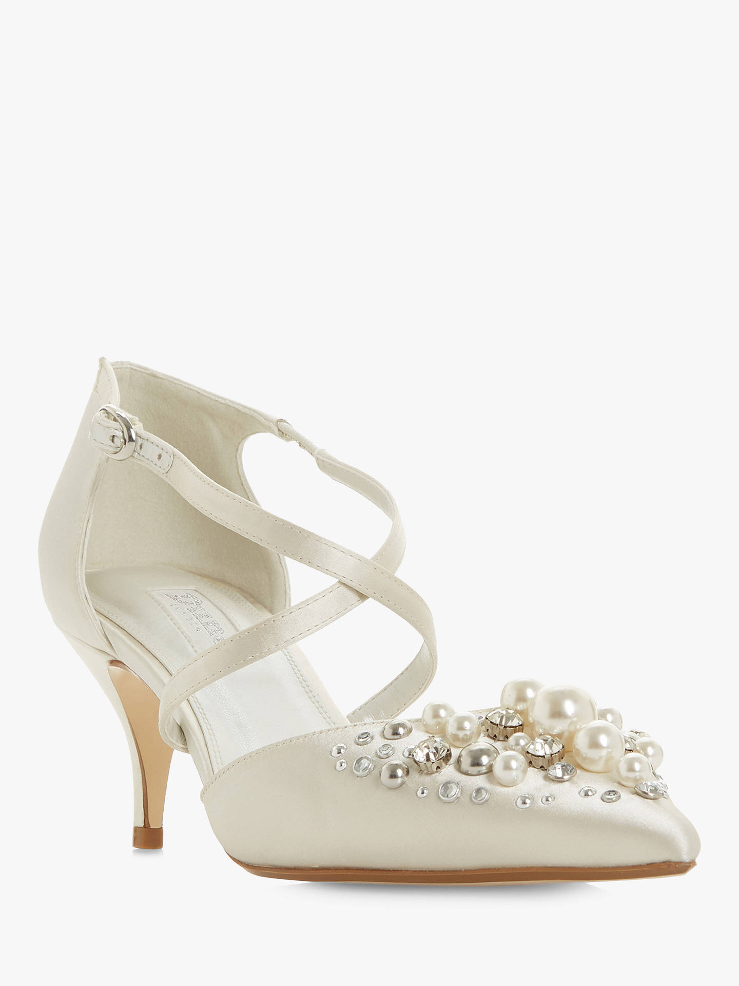 f1775f27694cb ... Buy Dune Champagne Embellished Two Part Kitten Heel Court Shoes, Ivory  Satin, 6 Online ...