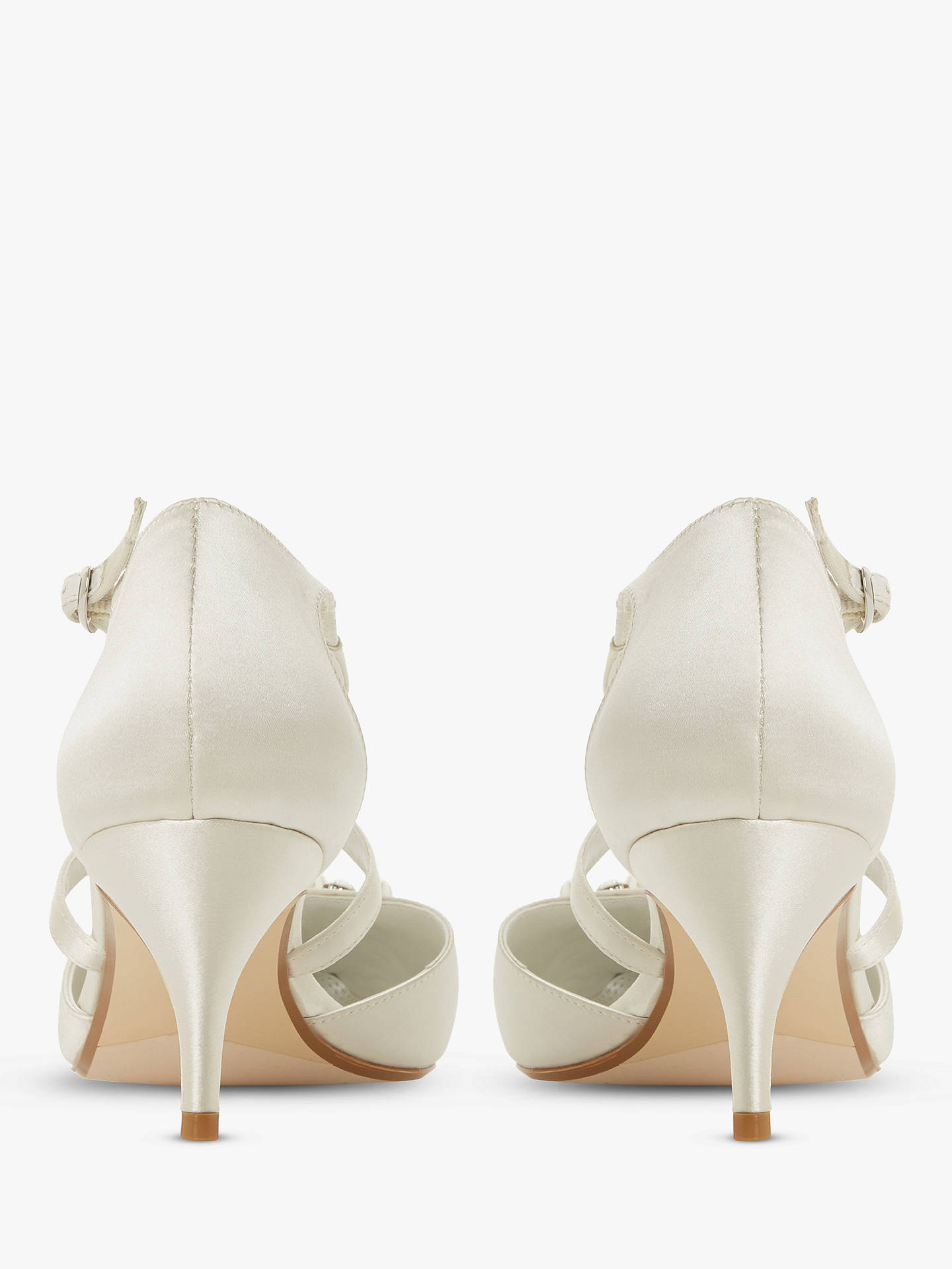 50a2eccb07ef8 ... Buy Dune Champagne Embellished Two Part Kitten Heel Court Shoes, Ivory  Satin, 6 Online