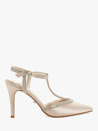 Dune Delightes Embellished T Bar Stiletto Heel Court Shoes, Nude Satin