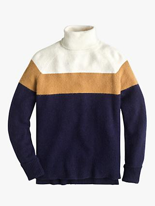 J.Crew Supersoft Colour Block Turtleneck Jumper, Burnished/Citron Natural