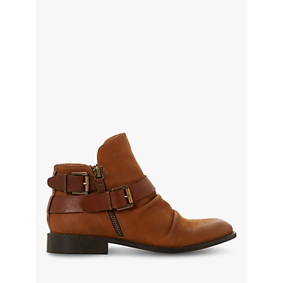 Bertie Ported Nubuck Buckle Detail Ankle Boots, Tan