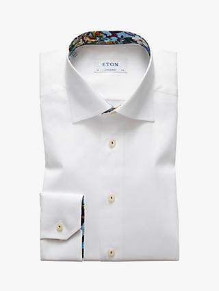 Eton Poplin Cotton Twill Tropical Contrast Shirt, White