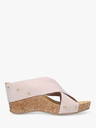 Carvela Comfort Sooty Cross Strap Wedge Heel Sandals, Nude Nubuck