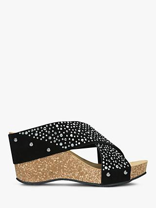 Carvela Comfort Sooty Cross Strap Wedge Heel Sandals