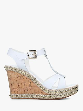 Carvela Karoline T-Bar Wedge Heel Sandals, White Leather
