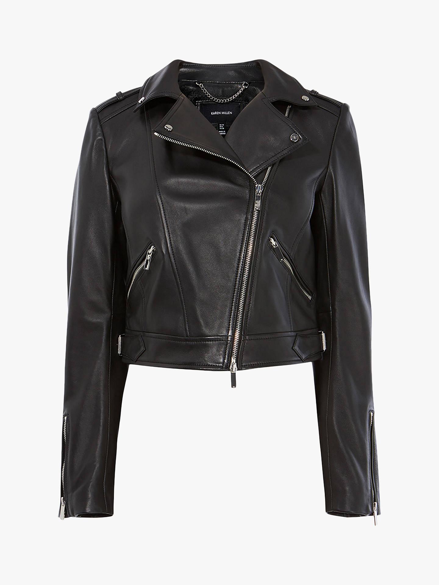 d7f25cdf0 Karen Millen Cropped Leather Biker Jacket, Black at John Lewis ...