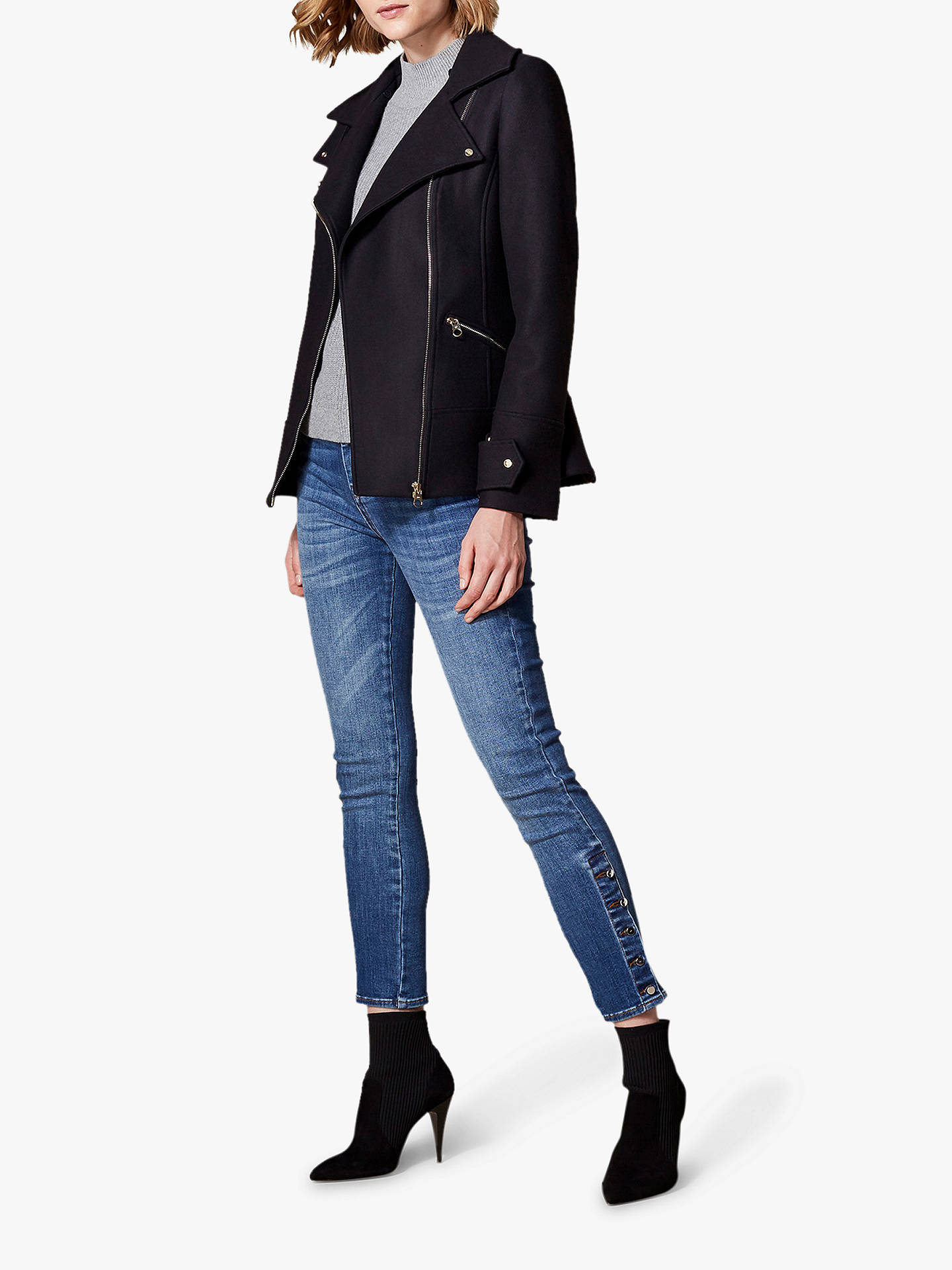 100% top quality check out exclusive shoes Karen Millen Tailored Aviator Jacket, Navy at John Lewis ...