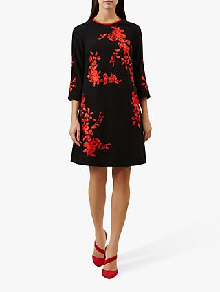 Hobbs Sunny Floral Print Dress, Black Paprika