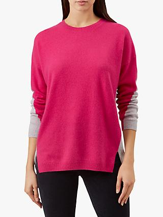 Hobbs Megan Knitted Wool Blend Sweater, Pink/Grey