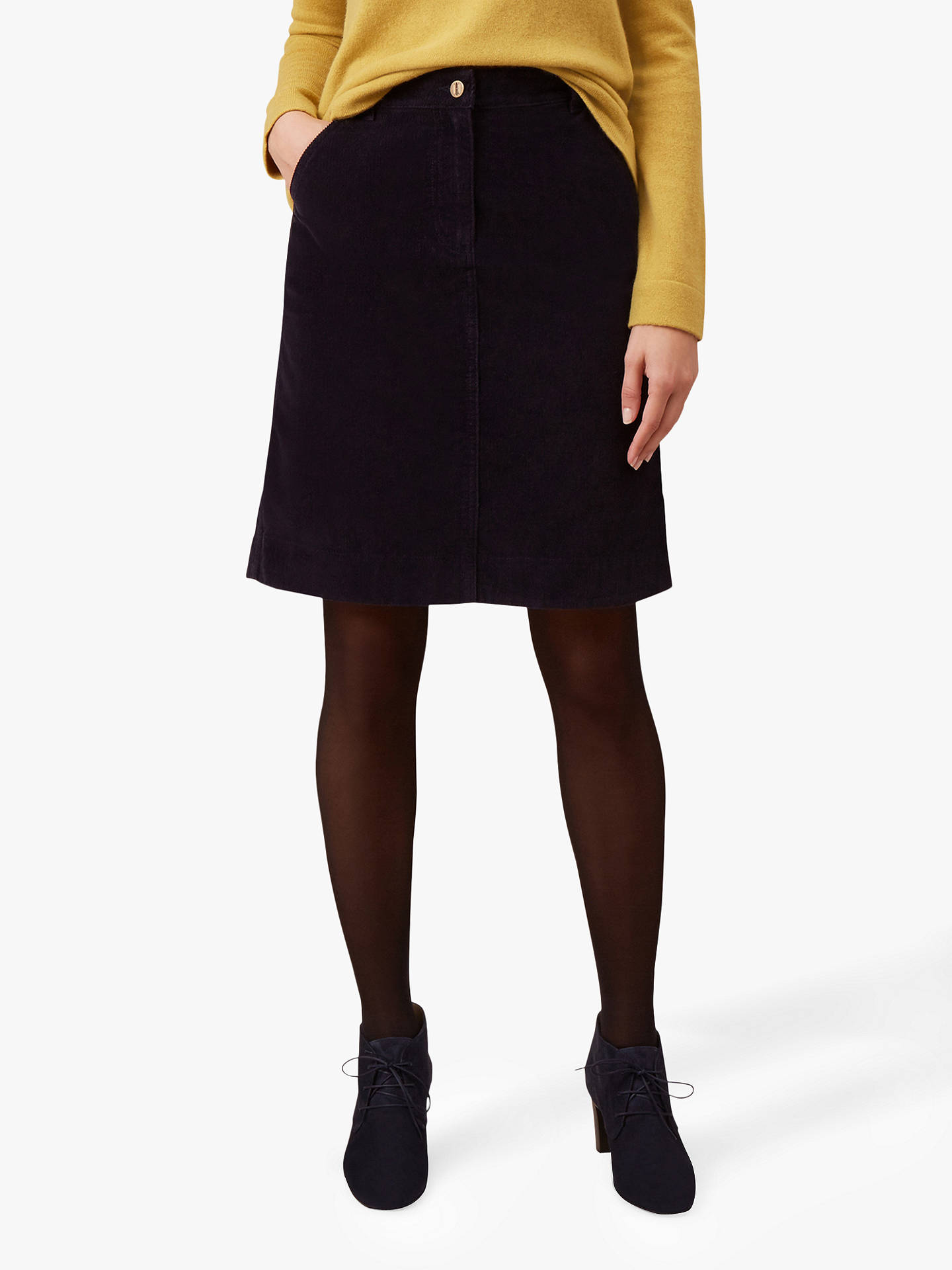 fb127cfc6ccf Buy Hobbs Bronte Cord Skirt, Navy, 6 Online at johnlewis.com ...