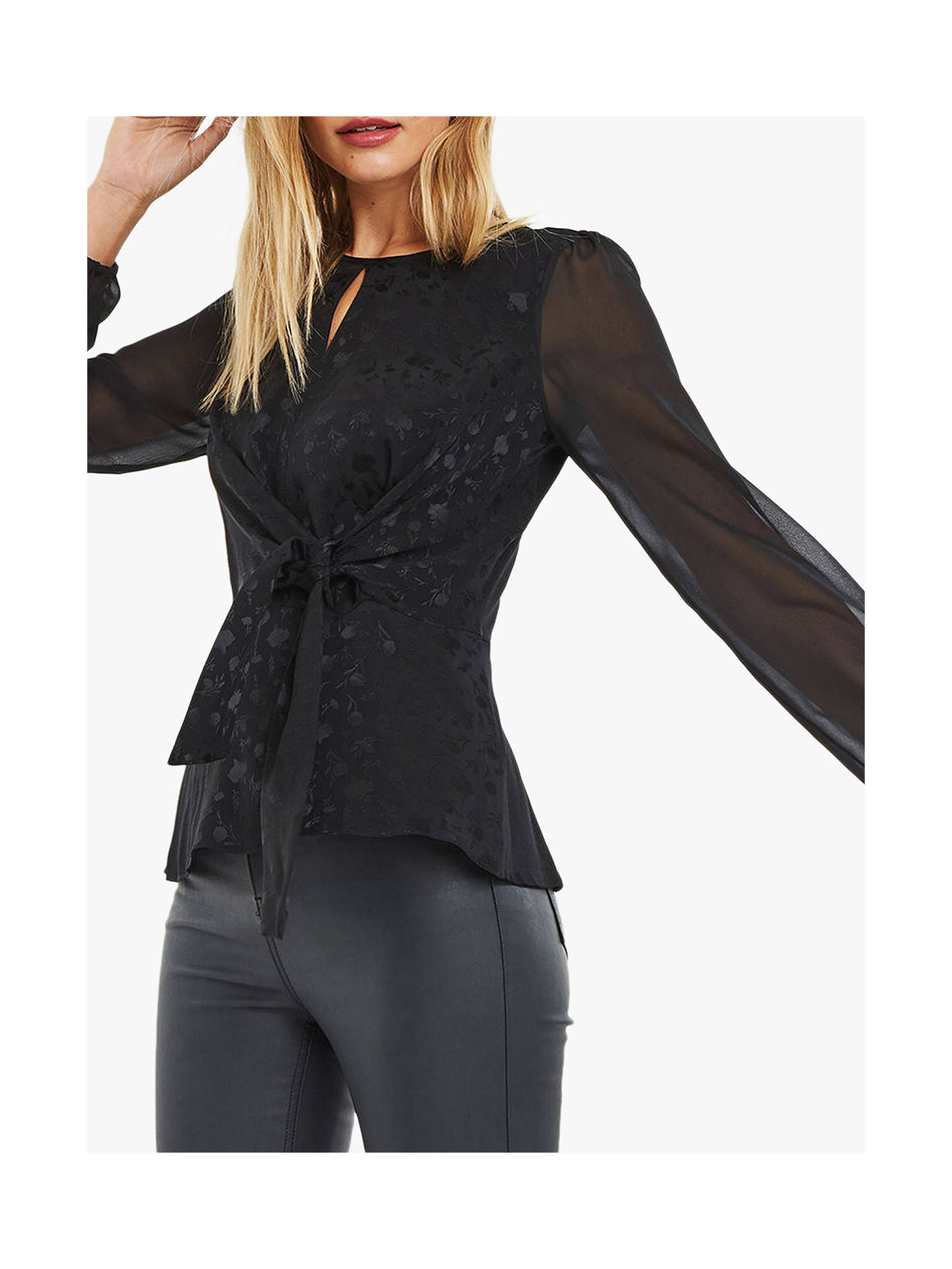 b42b3c5150cdb4 Buy Oasis Jacquard Chiffon Sleeve Blouse, Black, S Online at johnlewis.com  ...