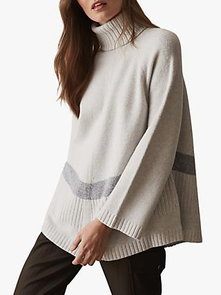 4232060e698088 Reiss Evangeline Oversized Roll Neck Jumper, Grey Marl