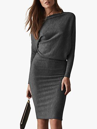 Reiss Delaney Draped Knit Dress, Grey
