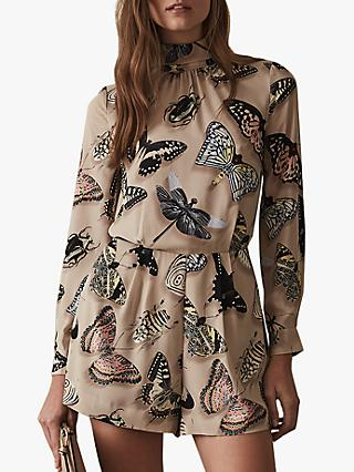 Reiss Gail Butterfly Print Playsuit, Multi