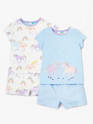 John Lewis & Partners Girls' Shortie Unicorn Print Pyjamas, Pack of 2, Blue/White