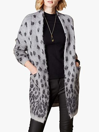 Karen Millen Leopard Long Cardigan, Grey/Black