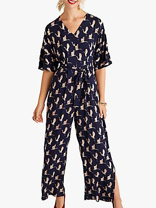 Yumi Split Leg Bird Print Jumpsuit, Navy
