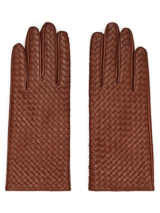 Reiss Milly Leather Woven Gloves