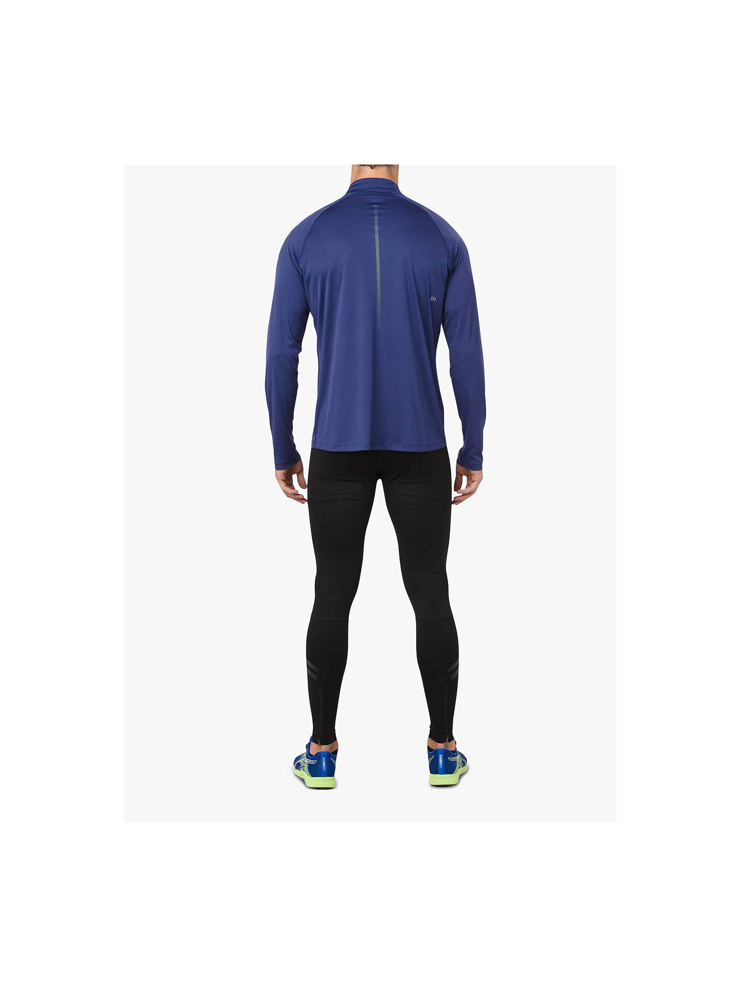 2771a4e9c4 ASICS Icon Long Sleeve 1/2 Zip Top, Blue at John Lewis & Partners
