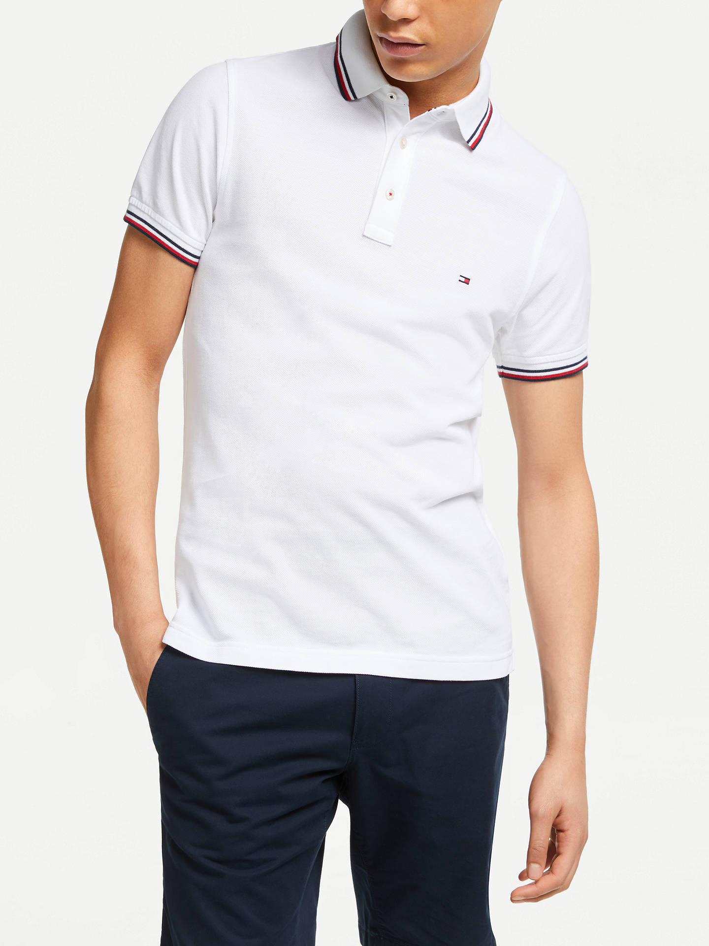 0d49c703 Buy Tommy Hilfiger Tipped Slim Fit Polo Shirt, Bright White, S Online at  johnlewis ...