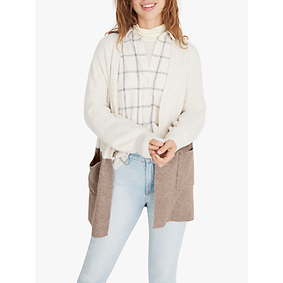 Madewell Kent Colour Block Cardigan, Bright Ivory