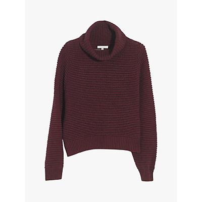 Madewell Two Harbors Side Button Turtle Neck Jumper, Heather Cherry