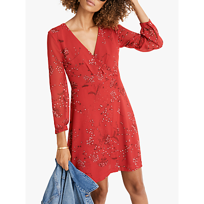 Madewell Wrap Front Floral Dress, American Floral Cranberry