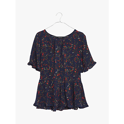 Madewell Floral Silk Ruffle Hem Top, Whisper Moonless Night