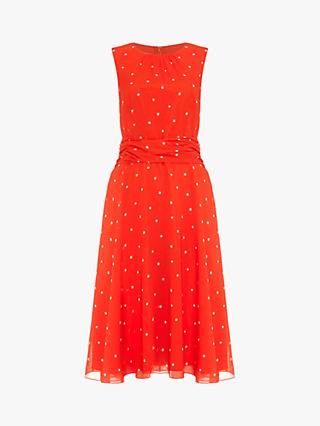 Phase Eight Fernanda Spot Dress, Vermilion/Ivory