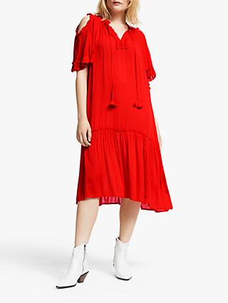 AND/OR Decca Ruffle Detail Midi Dress