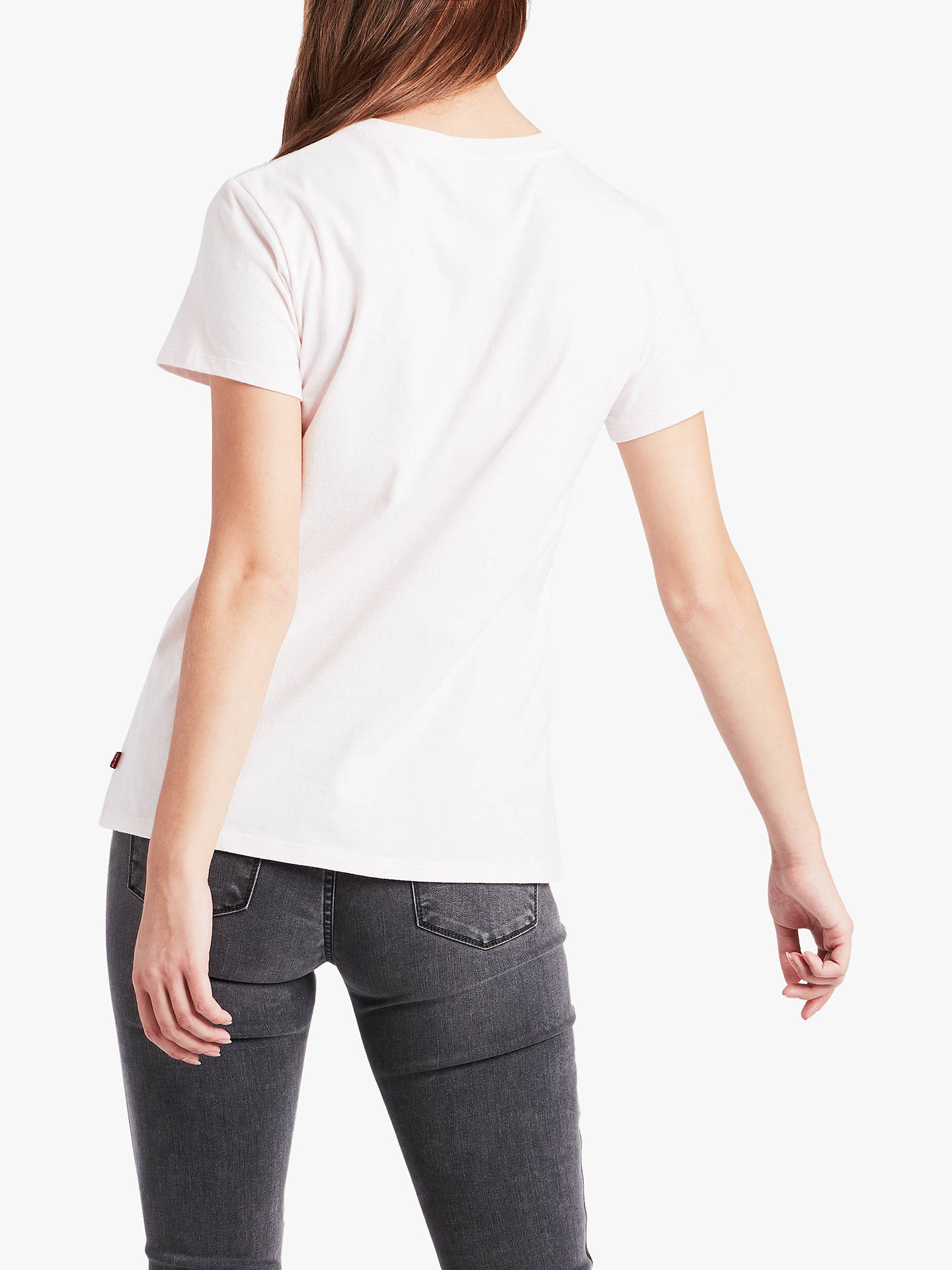 Buy Levi's The Perfect Logo T-Shirt, White/Rose, XS Online at johnlewis.com