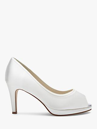 Rainbow Club Amber Bridal Platform Peep-Toe Court Shoes, Ivory Satin