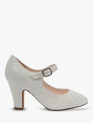 Rainbow Club Madeline Lace Detail Mary Jane Court Shoes, Ivory