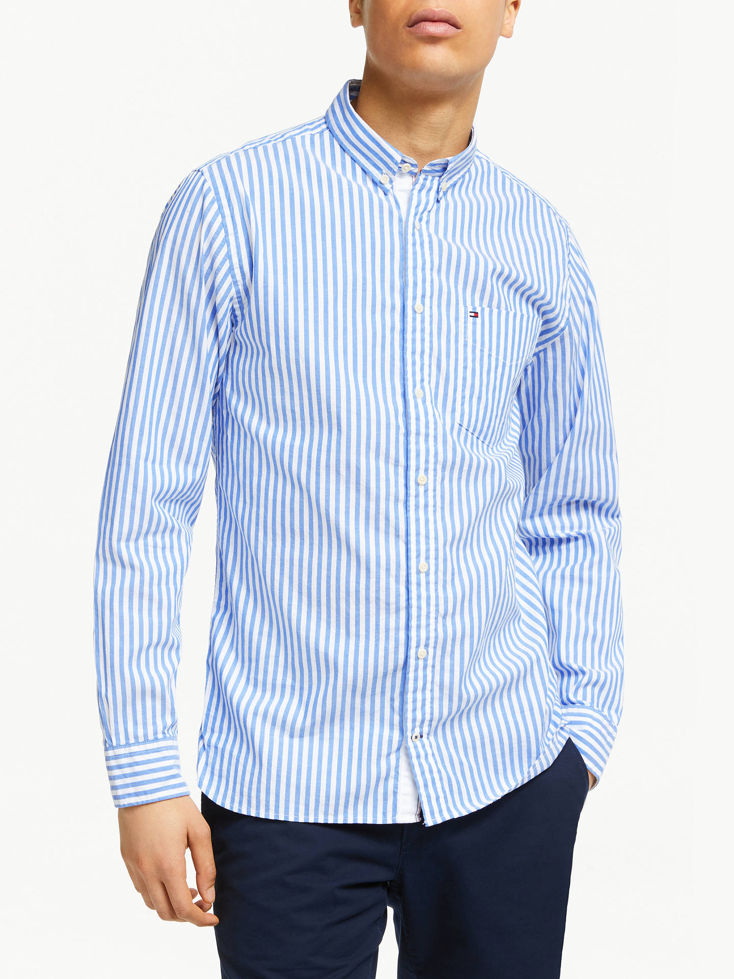203abfba Buy Tommy Hilfiger Long Sleeve Oxford Stripe Shirt, Sky Cap/White, S Online  ...