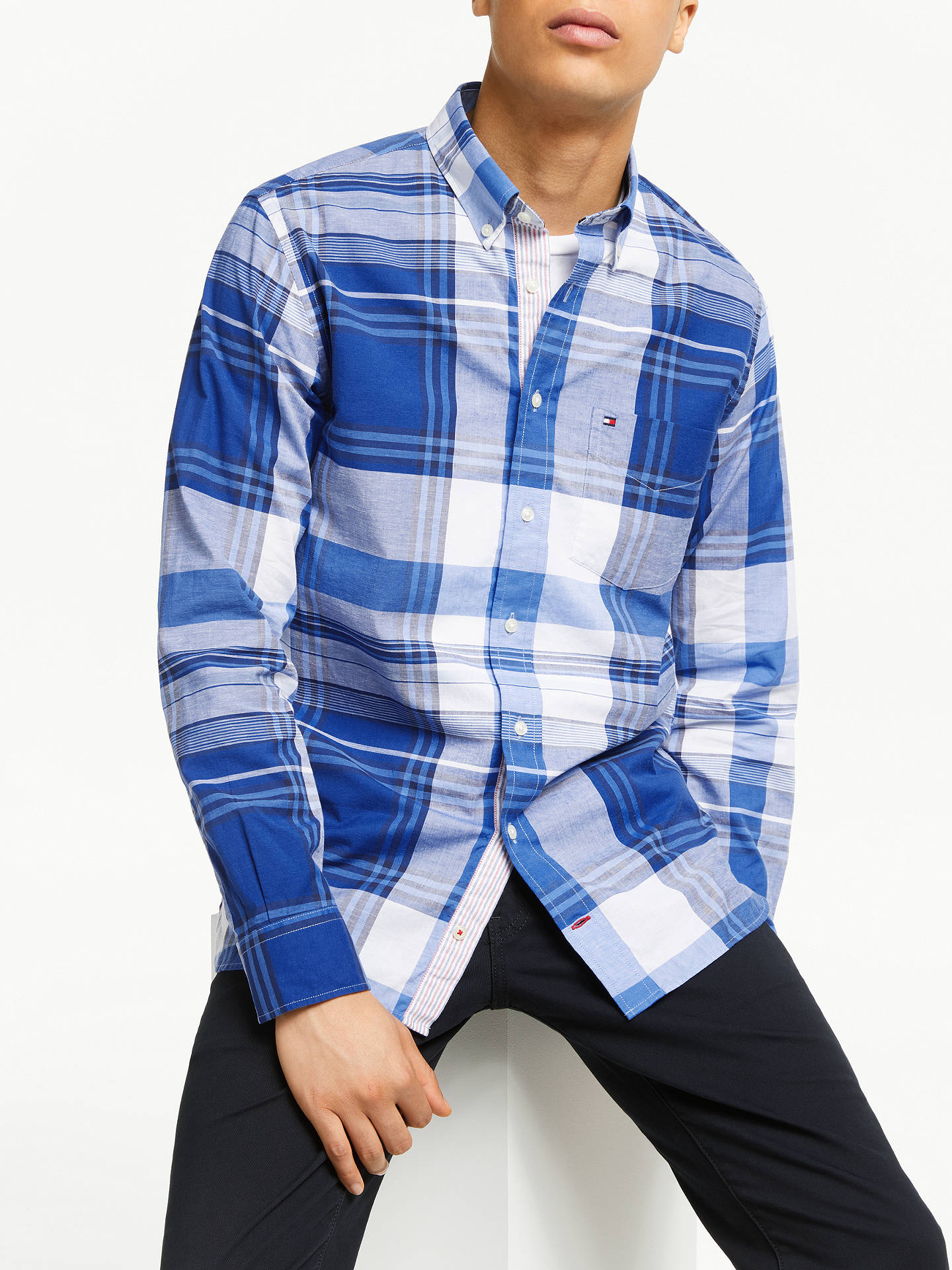 99860f228 Buy Tommy Hilfiger Large Scale Check Shirt, Blue, S Online at johnlewis.com  ...