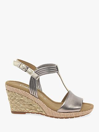 Gabor Jess Wide Fit Wedge Sandals, Pewter Leather