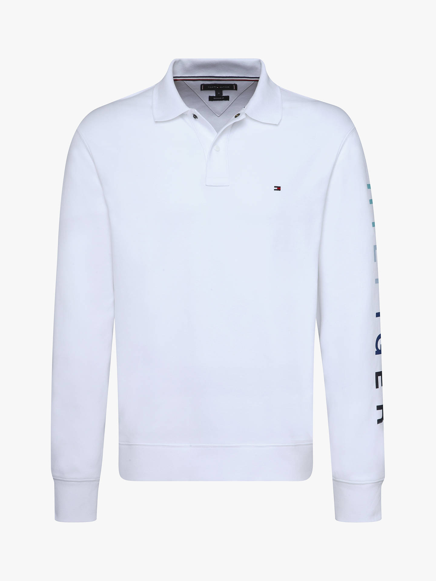 7cb88e31 Buy Tommy Hilfiger Long Sleeve Logo Polo Shirt, Bright White, S Online at  johnlewis ...