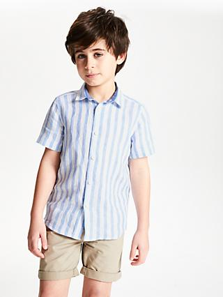 John Lewis & Partners Boys' Stripe Shirt, Blue