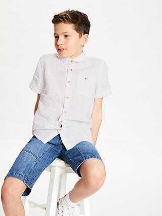 John Lewis & Partners Boys' Linen Shirt, White