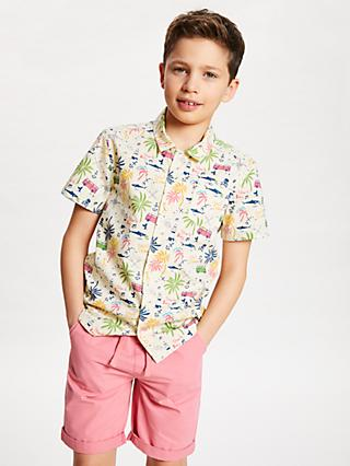 John Lewis & Partners Boys' Camper Van Print Shirt, Neutral/Multi