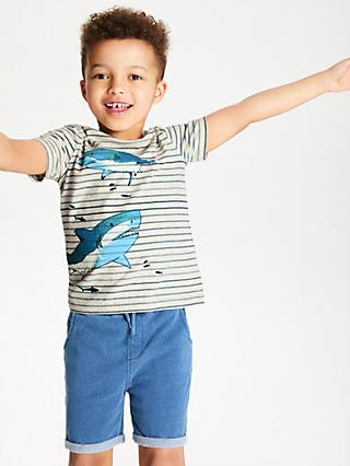 John Lewis & Partners Boys' Stripe Shark T-Shirt, Grey
