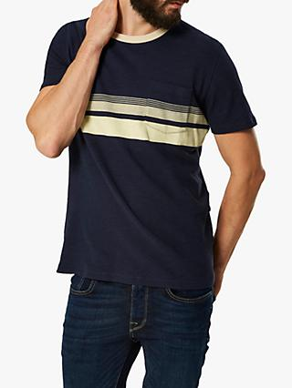 SELECTED HOMME Faded Stripe T-Shirt, Dark Sapphire