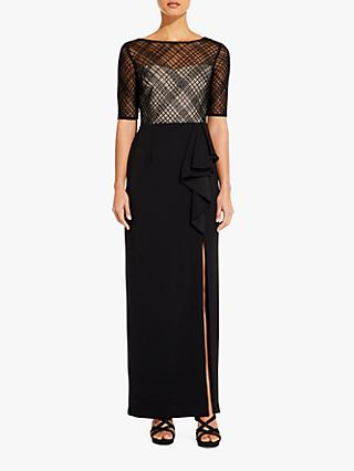 Adrianna Papell Plaid Beaded Split Detail Gown, Black/Nude