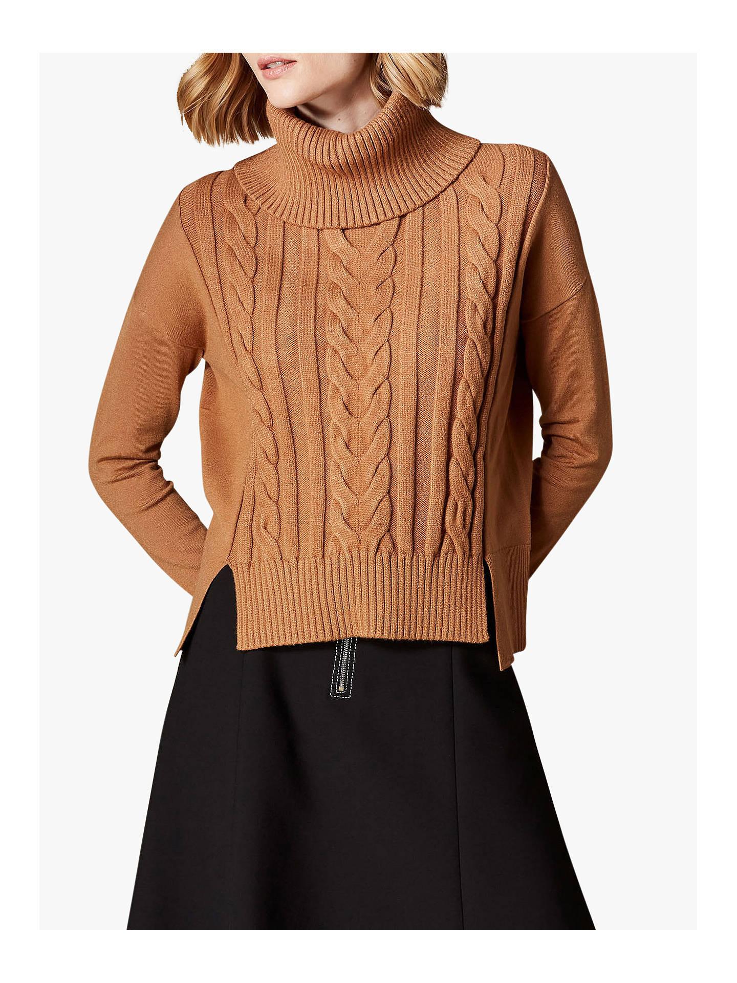 dcbe422ff8d Buy Karen Millen Roll Neck Cable Knit Jumper, Camel, XS Online at johnlewis.