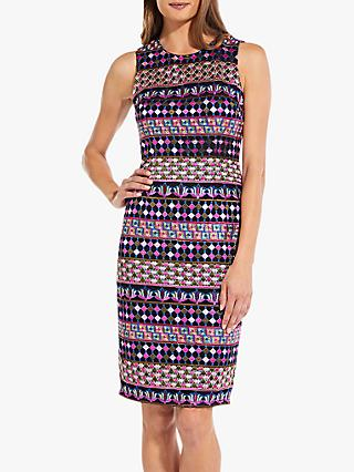 Adrianna Papell Gogo Geometric Embellished Bodycon Dress, Multi