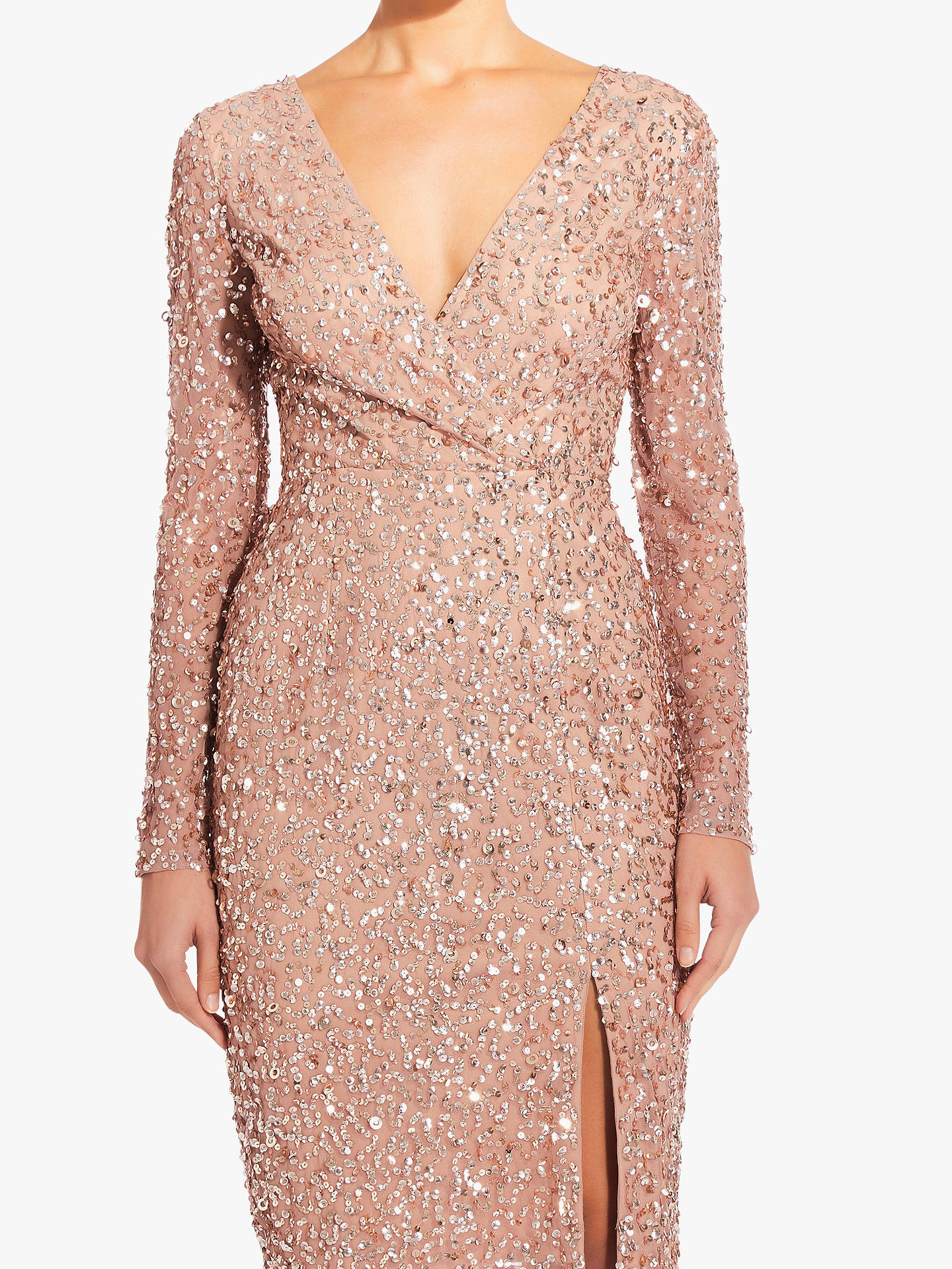 Adrianna Papell Beaded Wrap Dress Rose Gold At John Lewis Partners