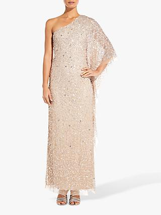 Adrianna Papell Petite One Shoulder Embellished Dress, Champagne
