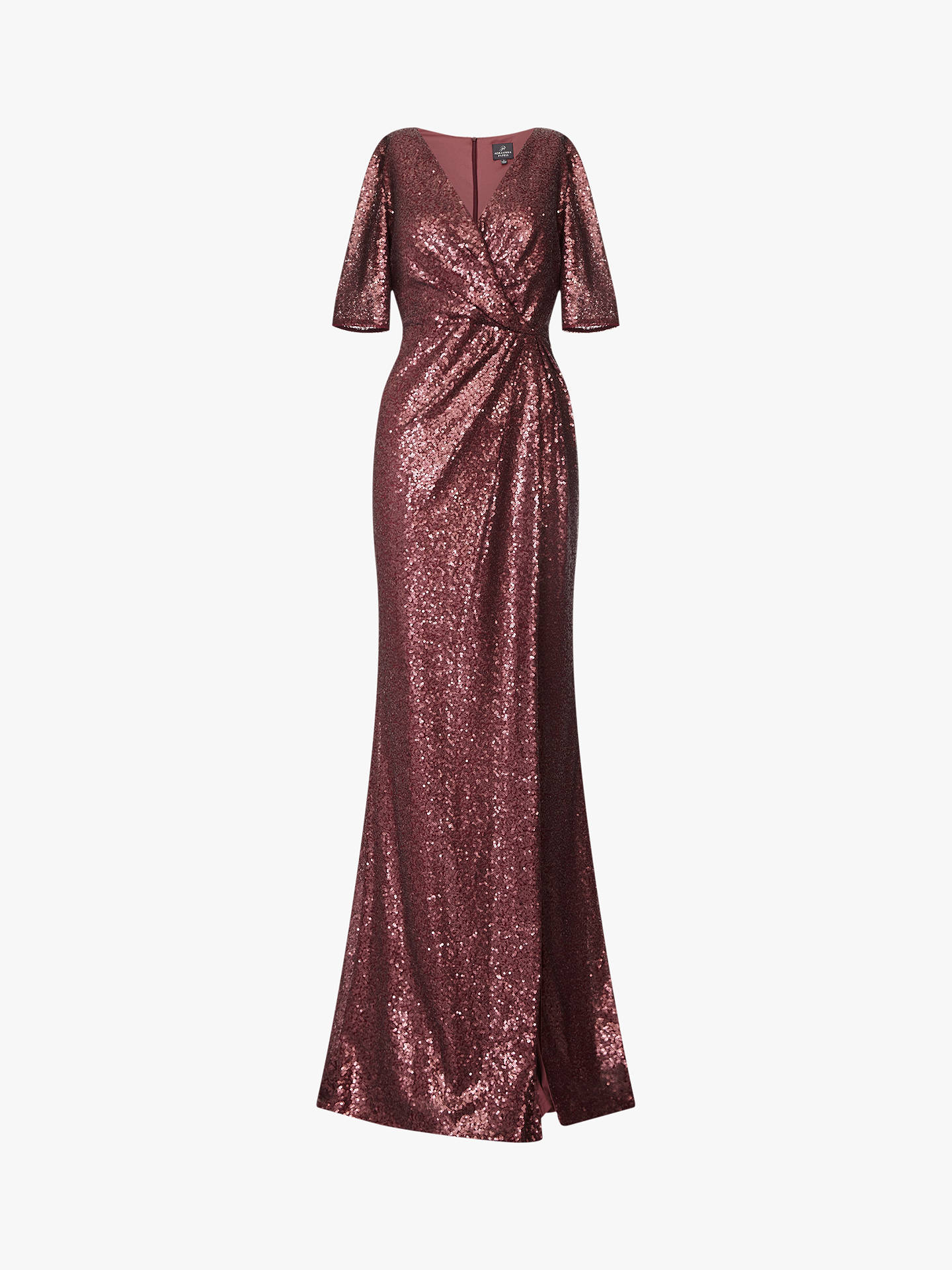 Buy Adrianna Papell Full Length Wrap Sequin Dress, Burgundy, 6 Online at johnlewis.com